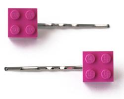 Lego Hairclips / Haarklammern / Haarnadeln in pink